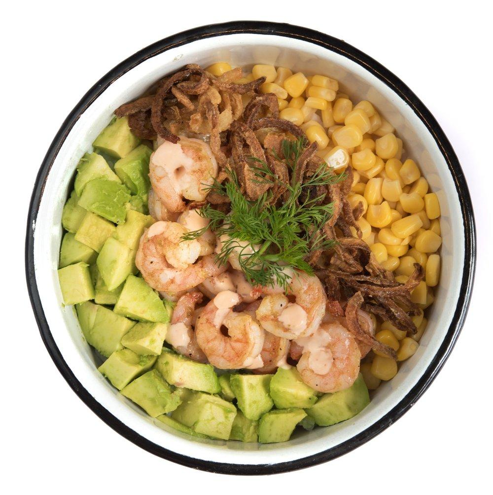 EBI BOWL - Mediano: 25.000. Grande: 29.000Arroz de sushi, camarones salteados, aguacate, maíz tierno, cilantro, cebolla crunch, siracha mayo.