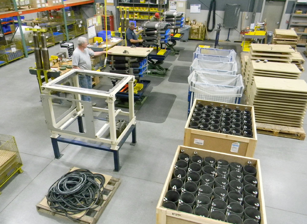 Assemblers in Wegmann USA's Lynchburg Virginia facility assembling M1A2 Ammo Racks