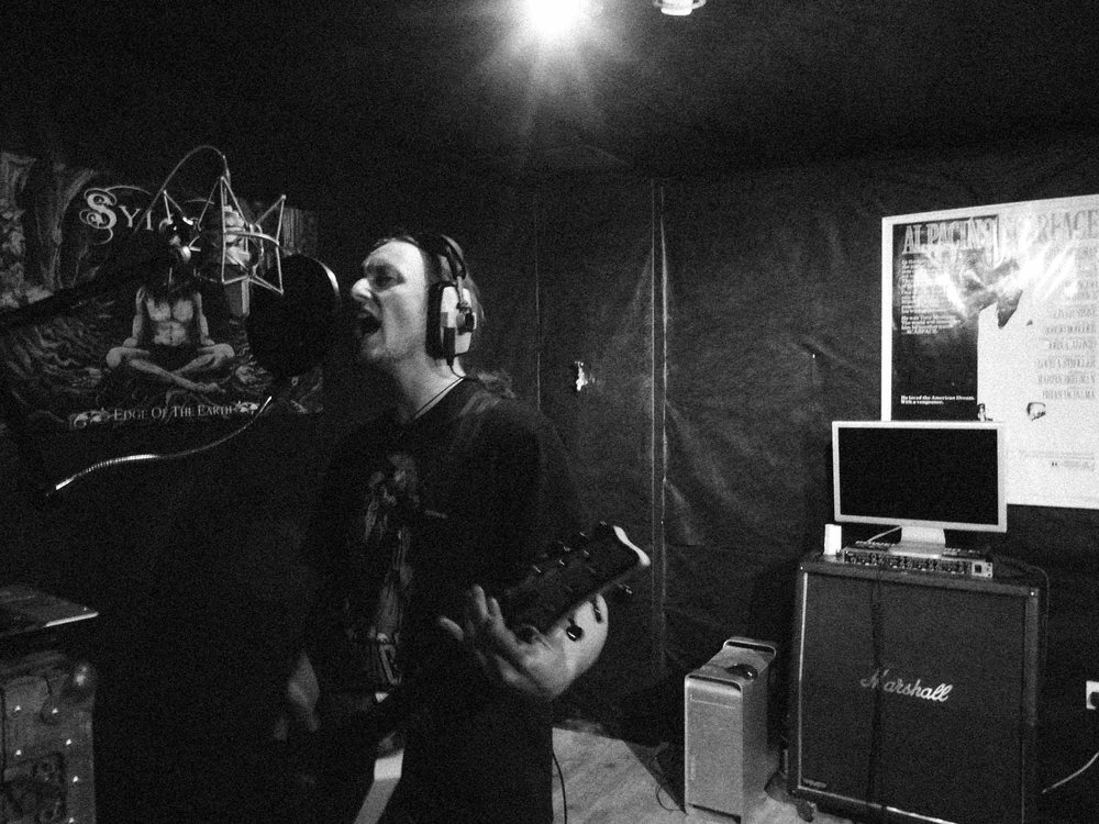 Dave recording vocals in Grindstone studios