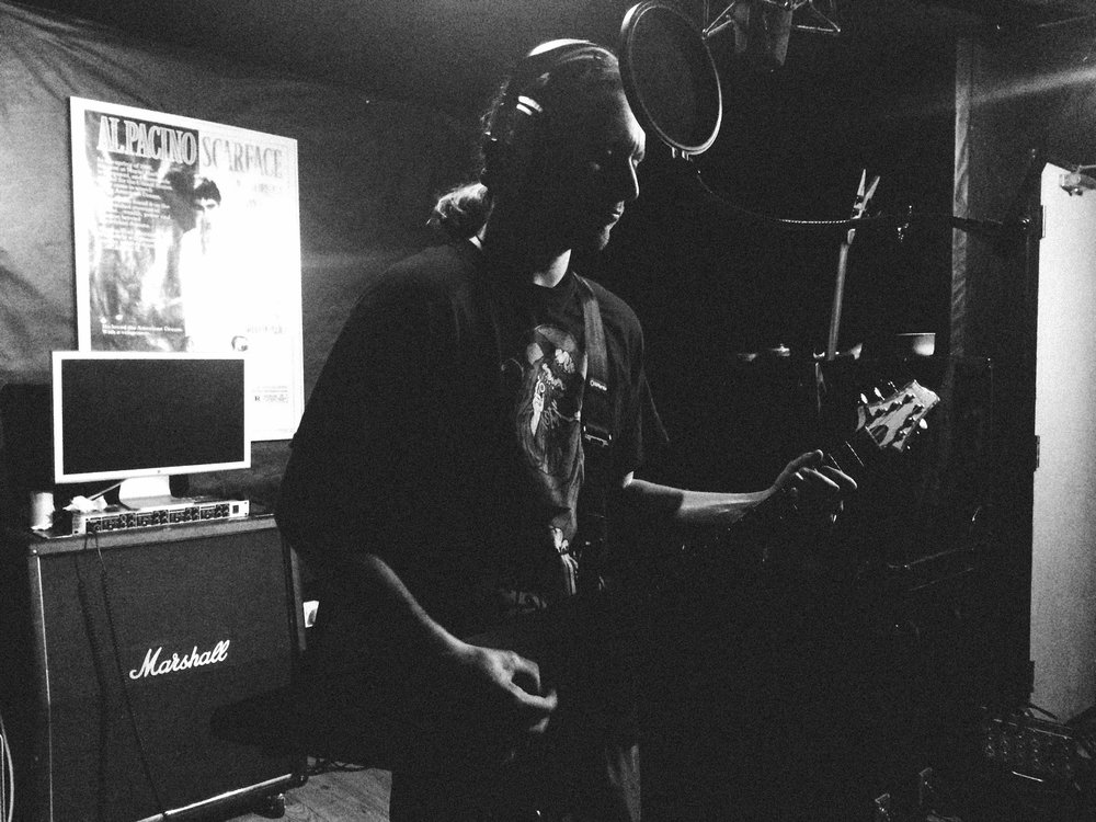 Recording guitars and vocals right after our first show in Japan