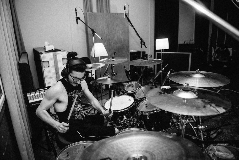 Andrea tracking drums for album #4 in Rockfield