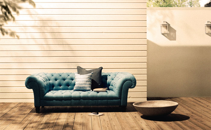 Outdoor Chesterfield, Part of the George Smith Outdoor Collection   Smith's iconic Chesterfield design comes outdoors with sustainable timber construction, and non-mold forming upholstery. Perfect for the pool-side English pub.   George Smith  www.GeorgeSmith.com/Outdoor