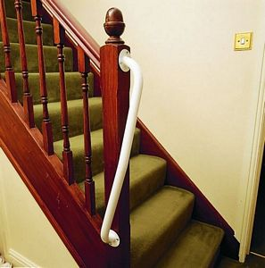 An easy add on, rails can be extended with products like this Newel Post Grab Rail from Easy Access Products
