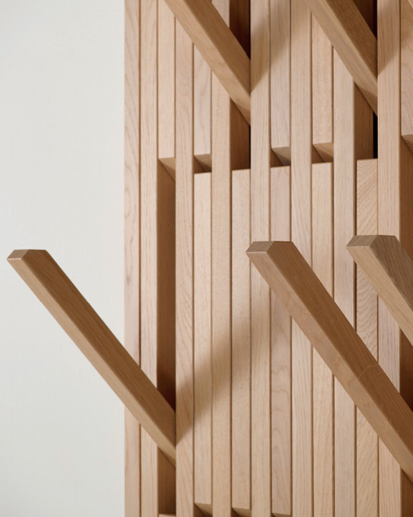 A close up of Piano's adjustable hooks | Photo courtesy Resource Furniture