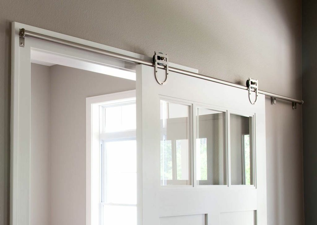 Rempel Barn Door Hardware.  Photo courtesy Wellman Cabinet Works