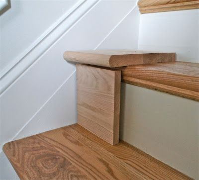 "Extend shallow stair treads with longer ""caps"" that install over your existing staircase  