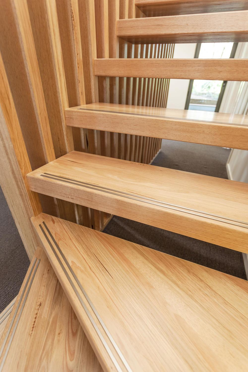 More intensive but just as decorative, metal or anti-slip inlays are available for embedding into your stair tread | Via Just Stairs