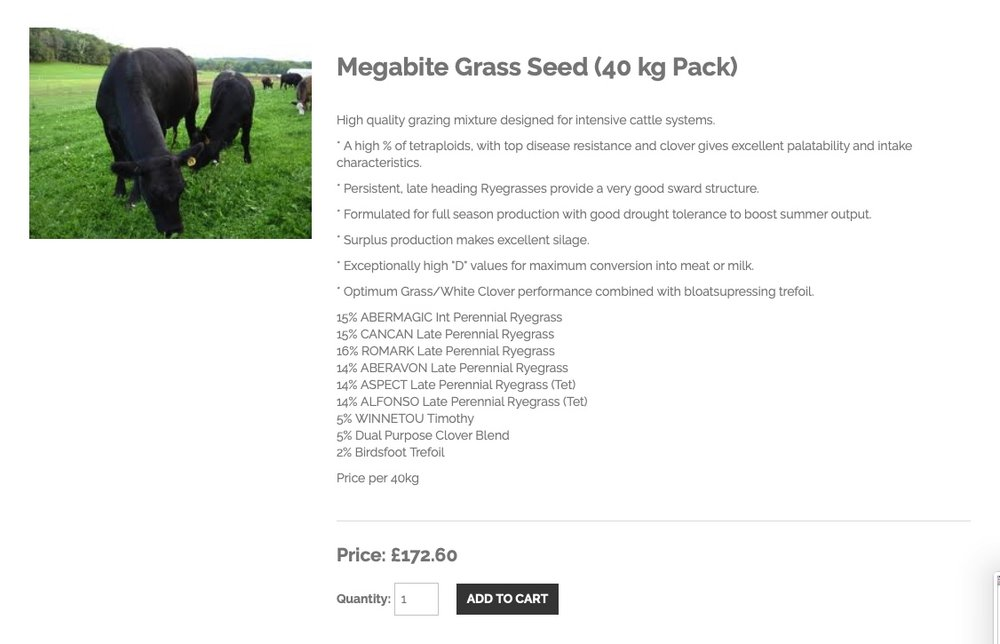 GRASS SEED - An example of typical agricultural seed that suits silage for cattle. Next time you're in a field, have a look at what's growing in it.