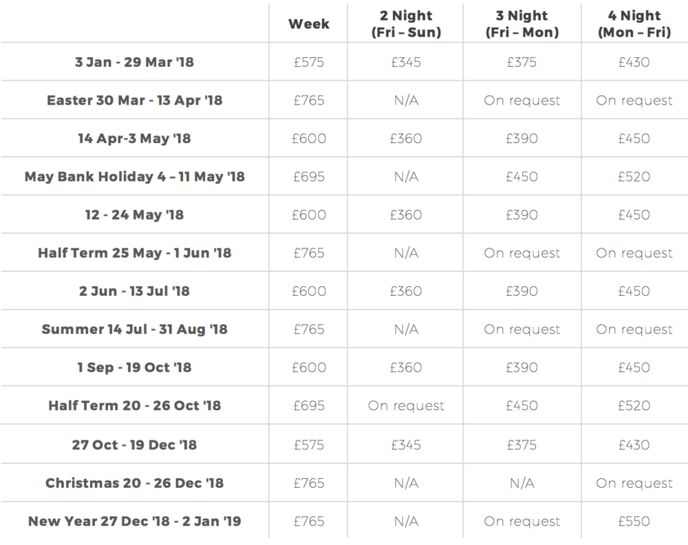Kittiwake Cottage Price List  - Whitstable Holiday Homes
