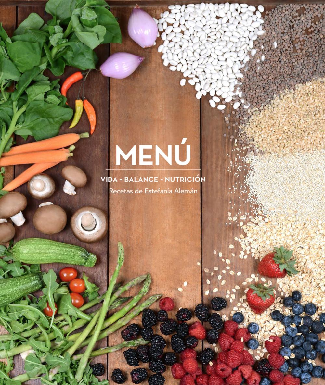 """Book cover for """"Menú: Vida, Balance y Nutrición"""""""