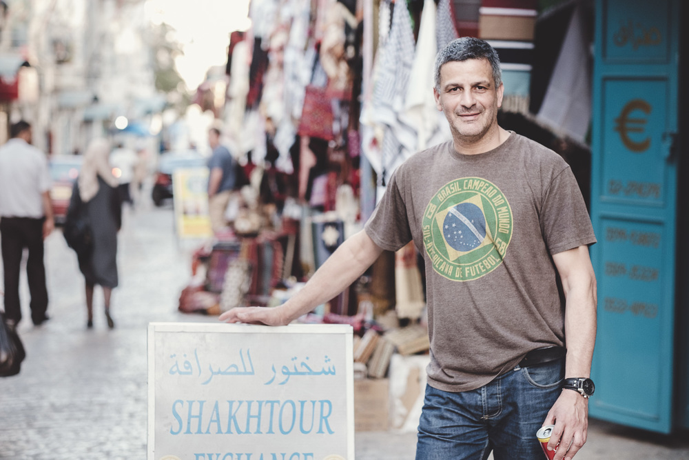 Assem Baraket, Shopkeeper, Bethlehem. Assem was a professional basketball player and coach in his younger years, representing Palestine.