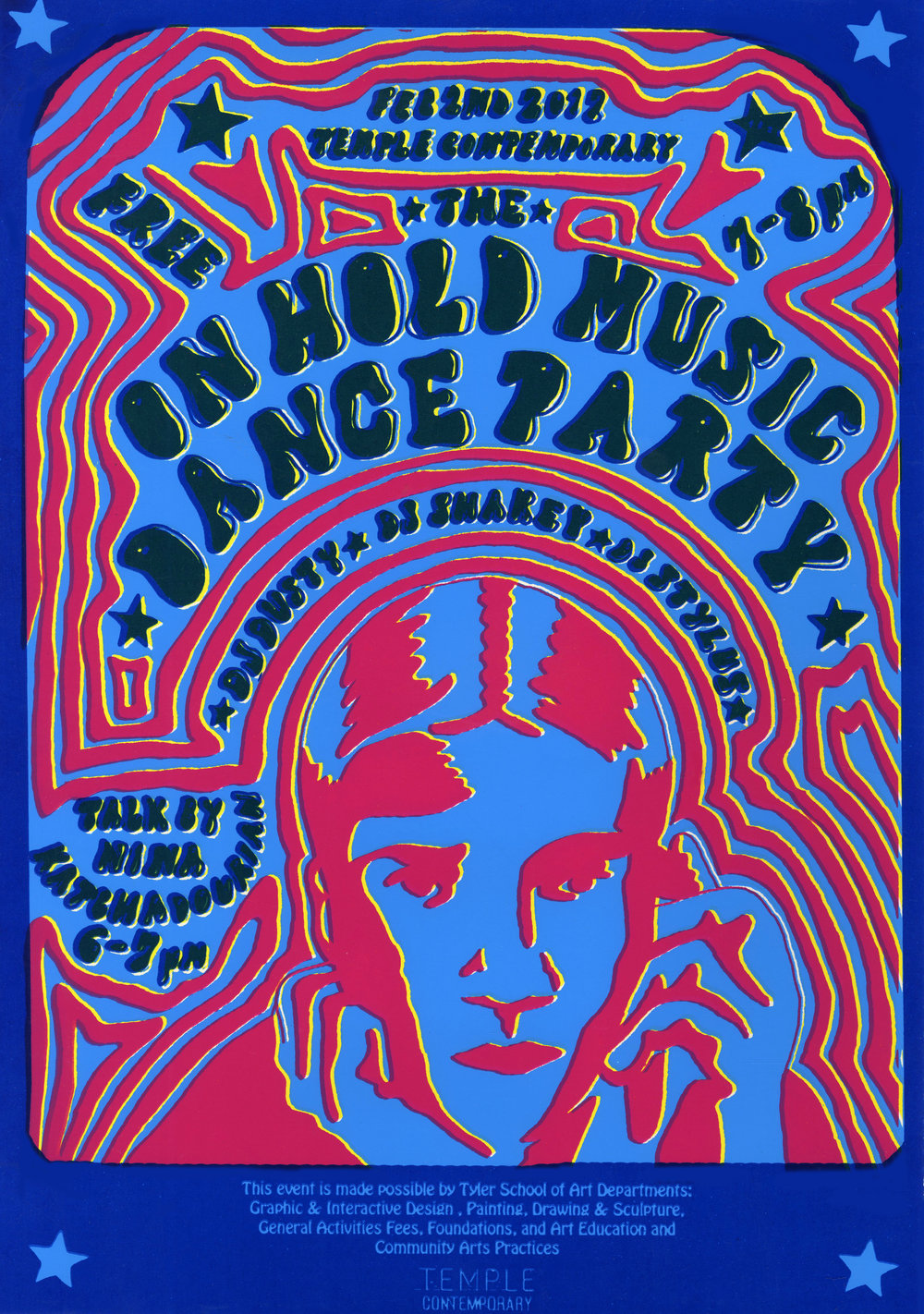 "On Hold Dance Party by Nina Katchadourian at Temple Contemporary  4 color silkscreen poster design by  Kees Holterman .  17""x11"" Edition of 35. Printer: David Love. 2017"