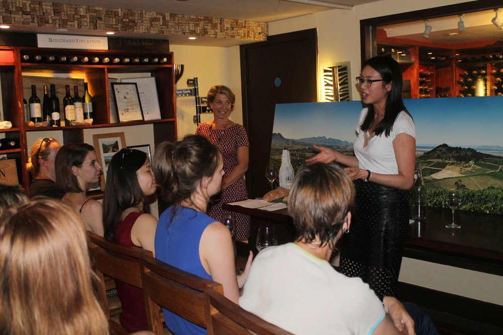 Winemaker Kathy Jordan and WIWL's Regine Lee taking questions from the group in the cellars at High Timber restaurant.