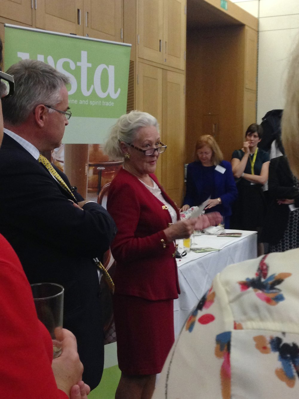 Sarah Morphew Stephen MW, the first female Master of Wine, giving a speech at the WSTA Parliamentary event. The crowd hung on to every word.