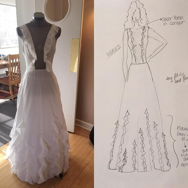From the first sketch to the finished look....all about that process! . . #weddingdressdesigner #customwedding #customweddingdress #bridal #wedding #designer #chicago #chicagostyle #vscogood #vscocam #dress #fashion #style