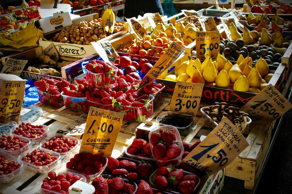 Just another street market in Florence, Italy -- where the fruits taste even better than they look.
