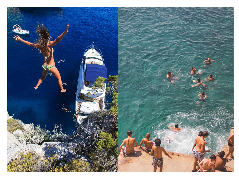 Left: Croatia    Right: Kids play on the Cap D'Antibe en France
