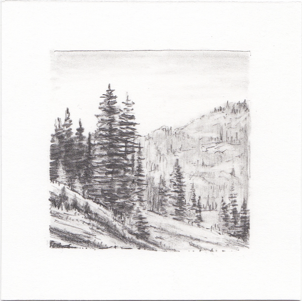 #33 Desolation Lake, Wasatch Mountains, Utah | 3x3 | graphite