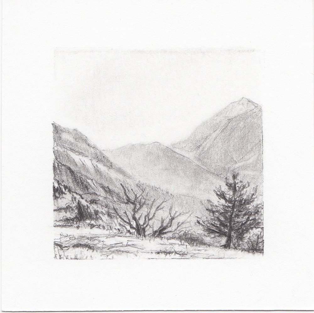 #50 Lone Peak, Wasatch Mountains, Utah | 3x3 | graphite