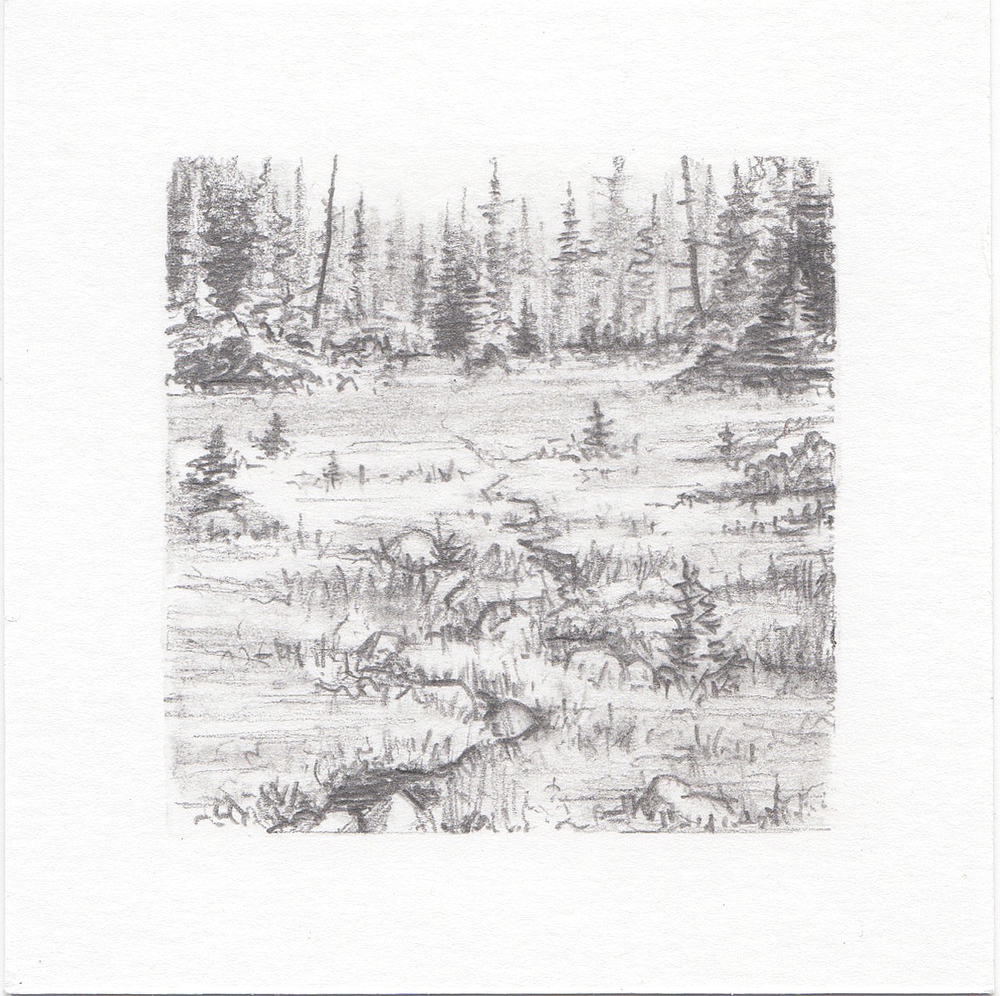 #54 Hayden Lake, Uinta Mountains, Utah | 3x3 | graphite
