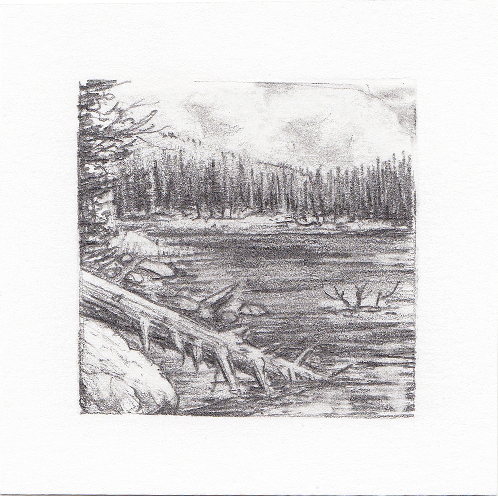 #57 Hayden Lake, Uinta Mountains, Utah | 3x3 | graphite