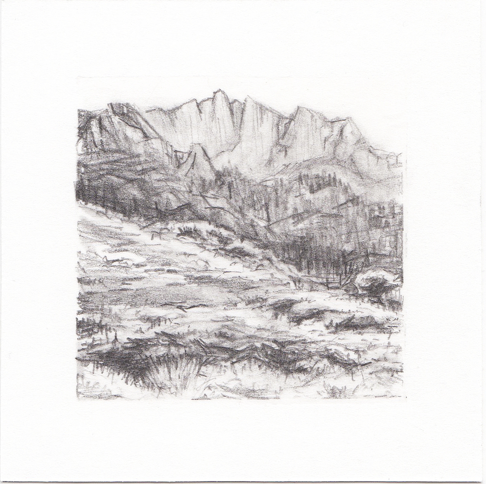 #59 Lone Peak, Wasatch Mountains, Utah | 3x3 | graphite
