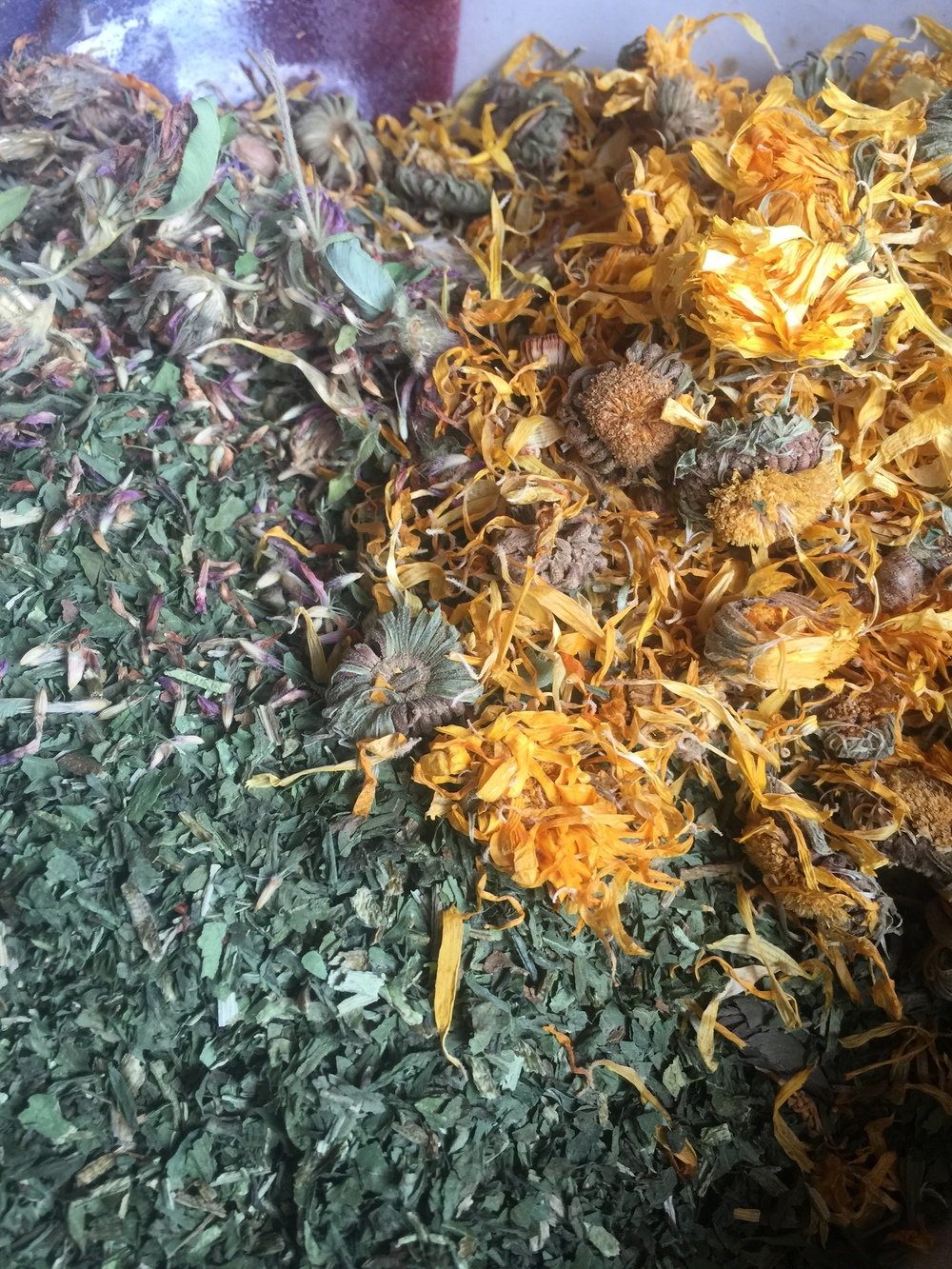 Here are three herbs that are great for your body systems...liver and kidneys too! Nettle, Red Clover, Calendula.
