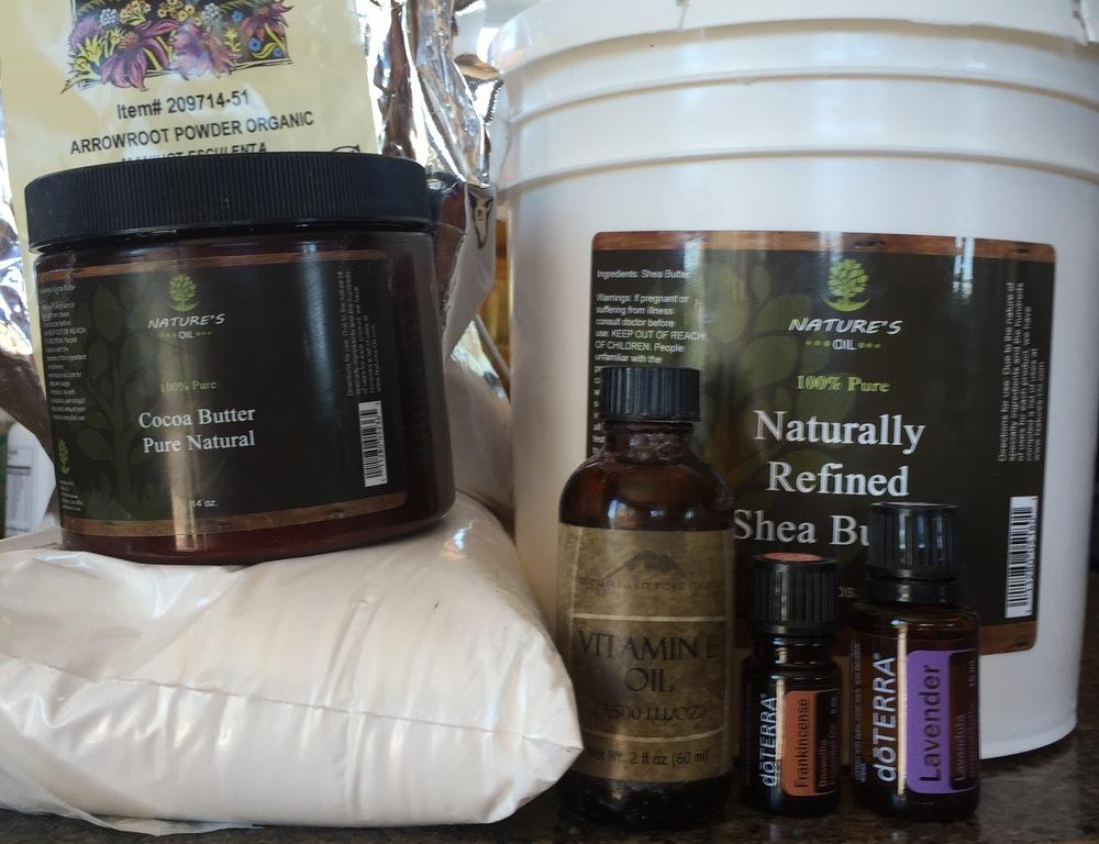 My ingredients for handmade deodorant.