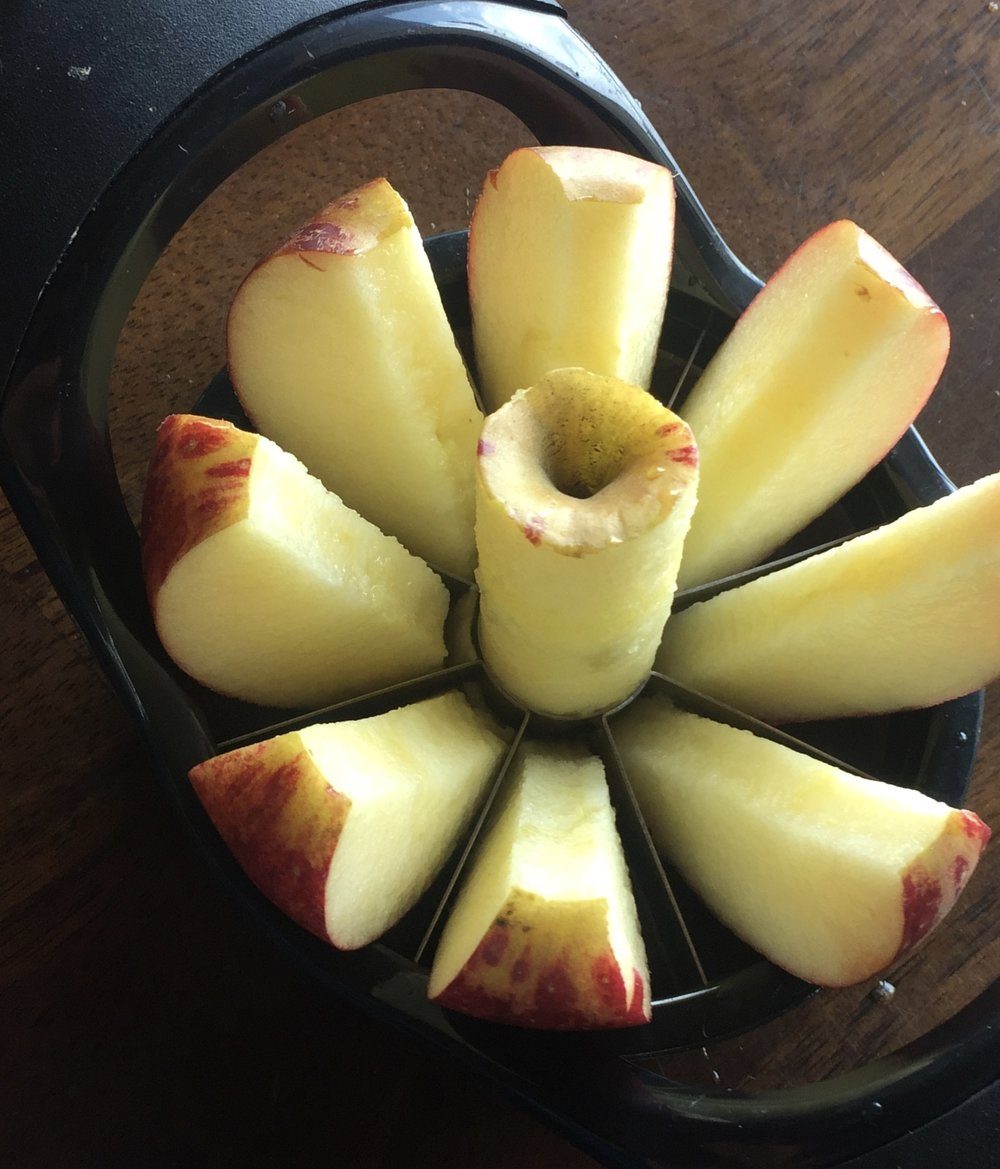 Easy sliced and cored apples.