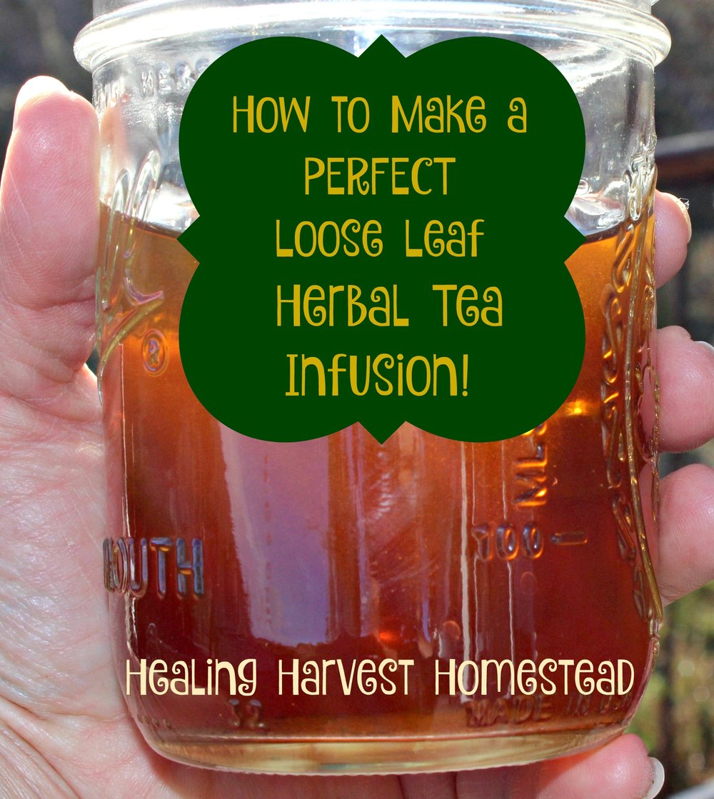 "Brrr!  It's chilly today!  Perfect for a warm cup of loose leaf herbal tea.  One of the most common questions I get asked about herbs is, ""How do you make herbal loose leaf tea?"""
