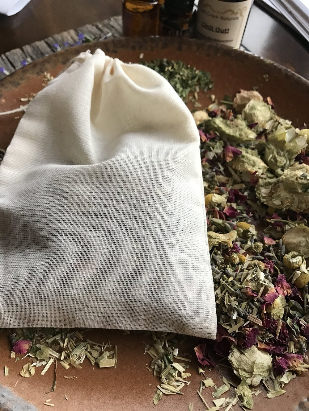 Using an organic cotton muslin bag with a drawstring is a great way to infuse your herbal teas!