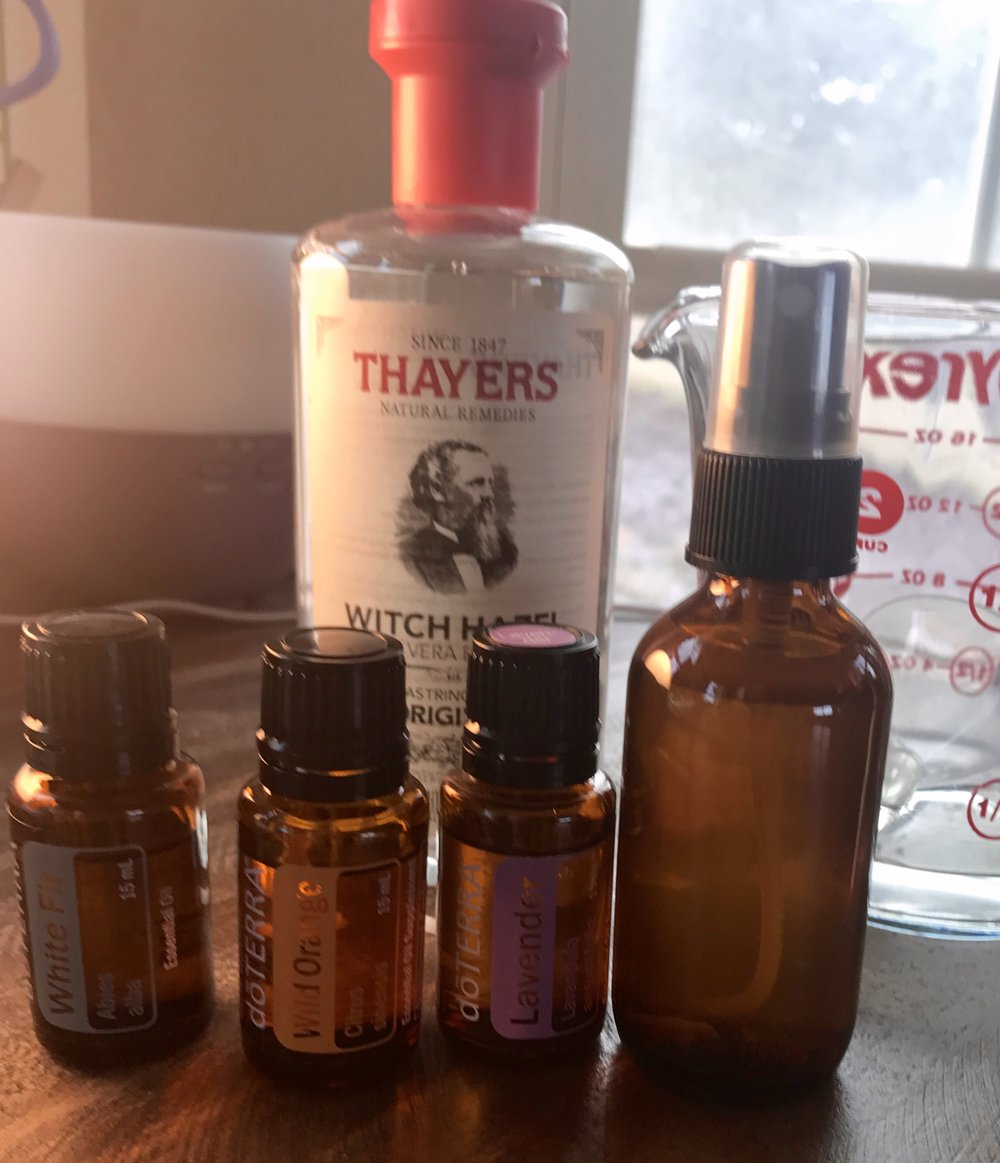 Here are all the tools and supplies you'll need to make this essential oil spray!