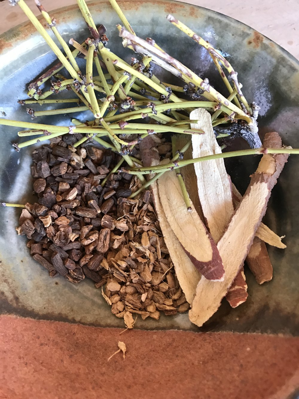 The herbs for the decoction (slow simmer).  Mormon Tea, Dandelion root, Ginger root, and Licorice root.