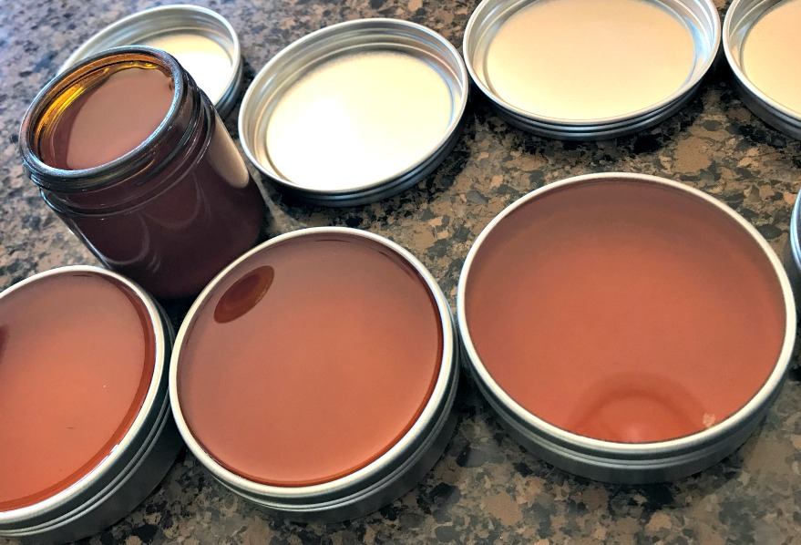 Liquid salve, just poured into tins.