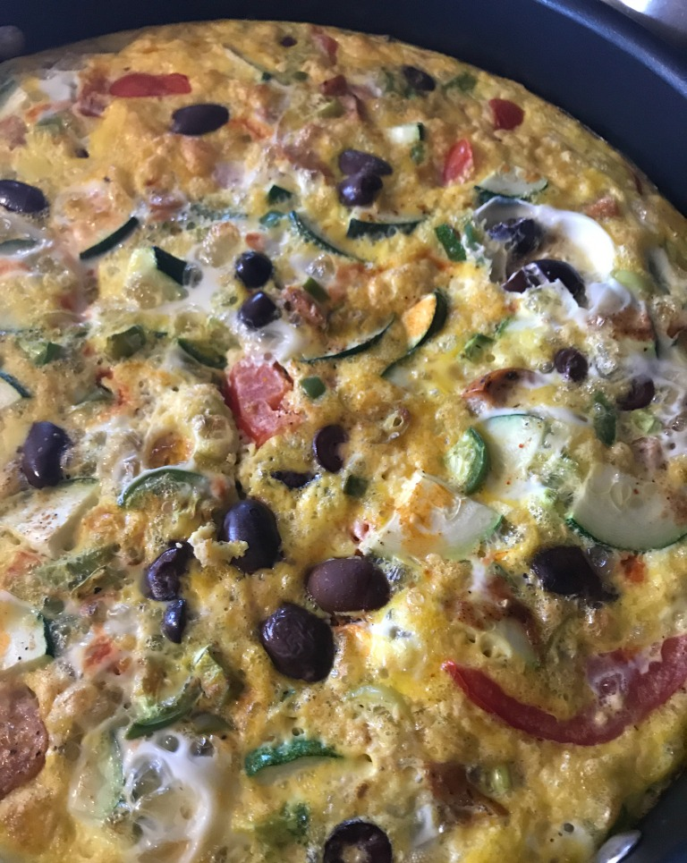 A finished frittata---ready to be cut and served!