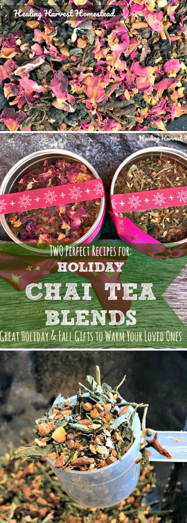 Here are my two favorite Chai Tea Recipes: Green Tea Chai and Rosy Chocolate Chai. They are perfect for gift giving, enjoying on cool days and colder nights, and are wonderful teas for health! Make your own tea blends, and package them up for perfect homemade. holiday gifts!