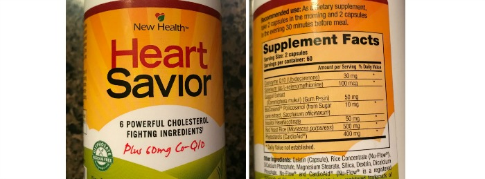 Here are the front and back of the bottle of  Heart Savior.  Before I agreed to experiment on myself, I did check out the ingredients. I was impressed!