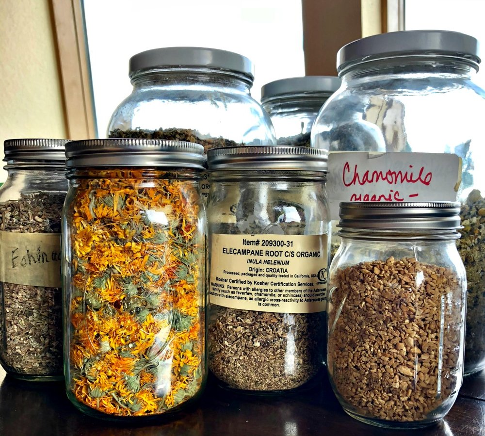 Here are the herbs I used for my Lung Support Tea Blend---They are soothing to the lungs, promoting healing, while calming a spastic cough, including those annoying dry coughs.