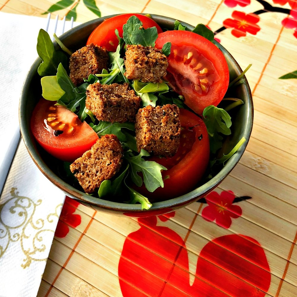 These homemade croutons turn this simple salad into something truly delicious!