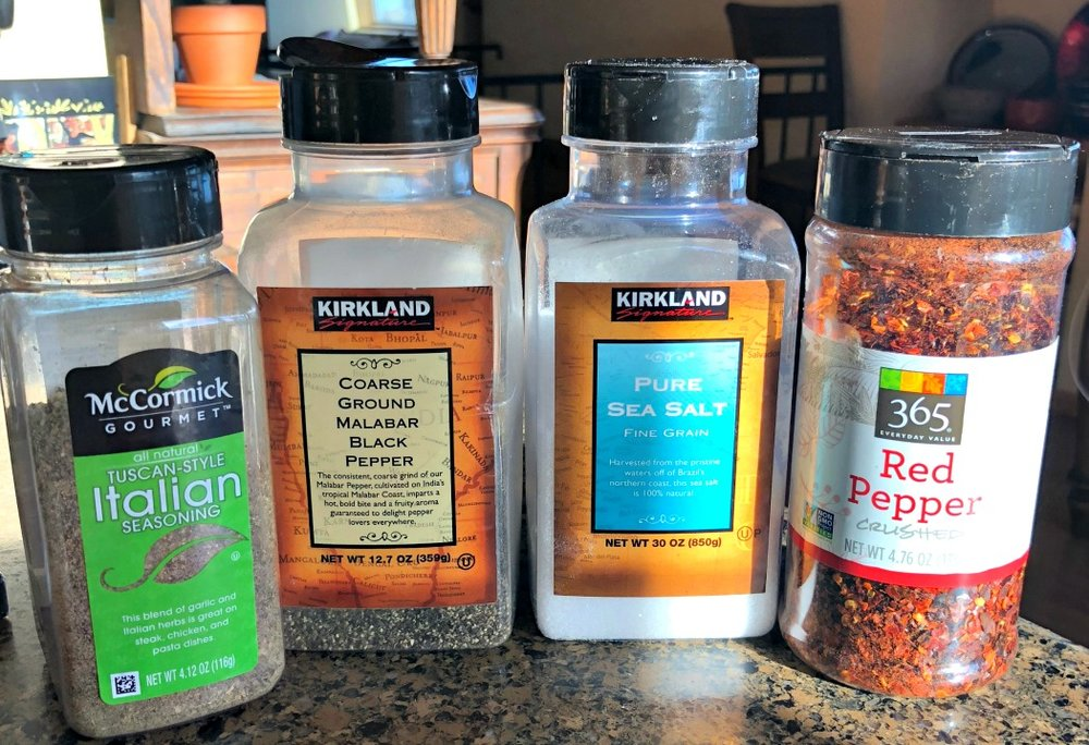 Here are the spices I used for this batch of croutons. I just sprinkled them liberally (except the salt--I go light on the salt).