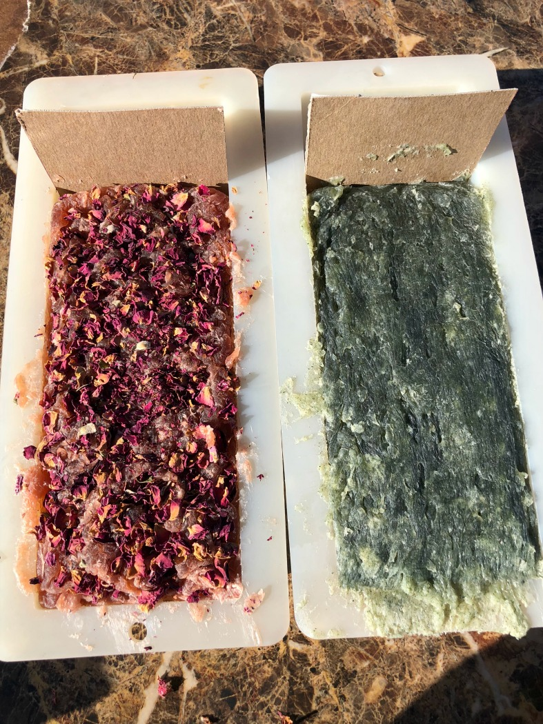 This recipe is a lot less poundage than I usually make at a time, and with my larger soap molds, I had to make adjustments. I just tucked in firm cardboards into the soap mold behind the soap---Perfect!