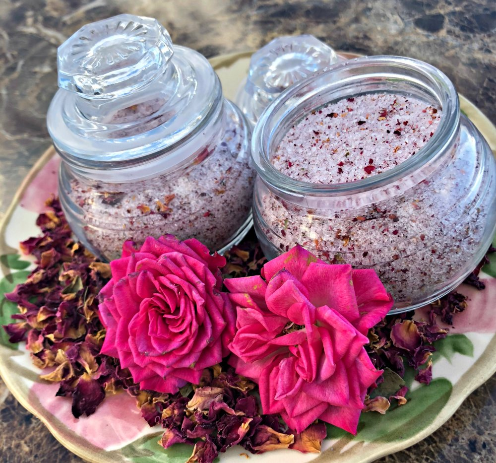 How to create Rose Petal Herbal Body Scrub & Bath Soak---What a great handmade gift!