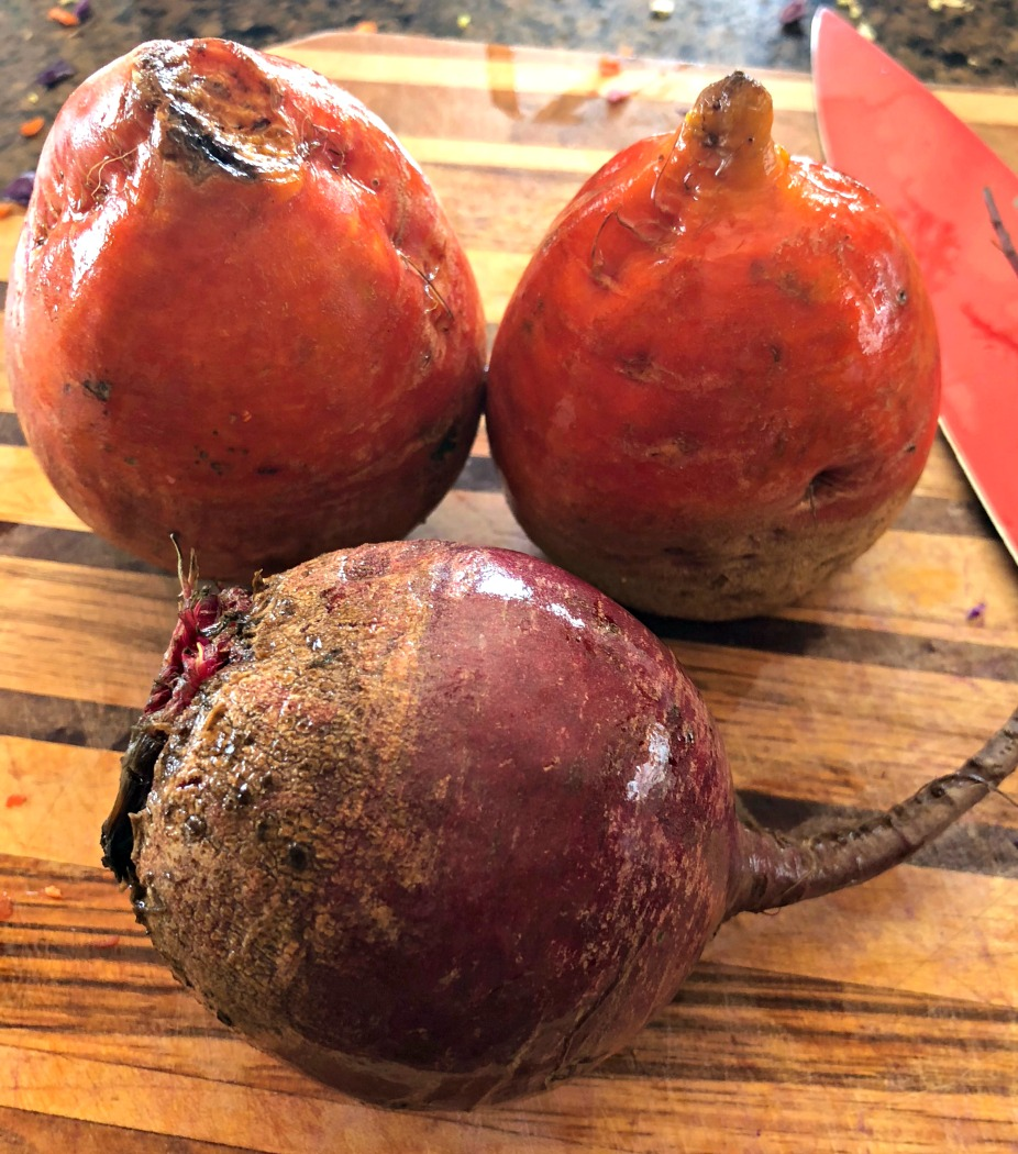 Beets: I chose organic red and golden beets. I love them both!