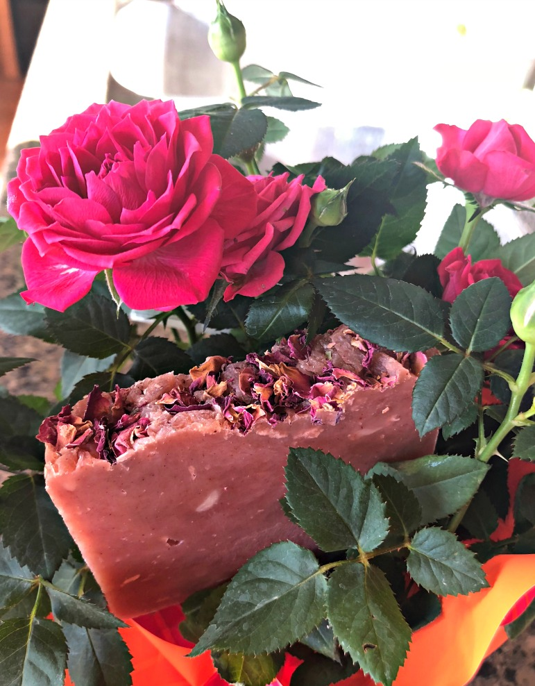 Here's my homemade, all natural  Rose Petal soap . I use the hot process method, and it's ready to go quickly! Check out my eBook:  Hot Process Soap Making .