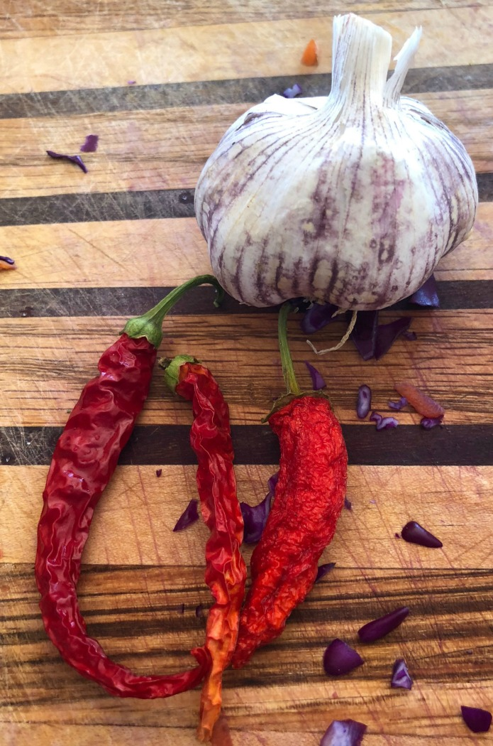 Garlic & spicy cayenne peppers from the garden too....