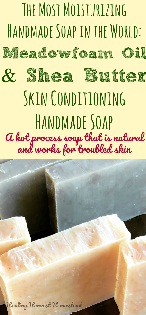 Find out how to make the most moisturizing soap for troubled and sensitive skin. Made with Meadowfoam Oil & Shea Butter, it's skin conditioning and feels SO good. Find out how to make the best skin soap ever with this hot process soap recipe.