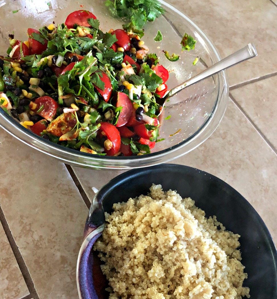 The main ingredients are all mixed up, and the quinoa is cooling. Once it's cooled down, just mix together well and store in the fridge for a few hours or overnight. You'll have the MOST delicious salad!