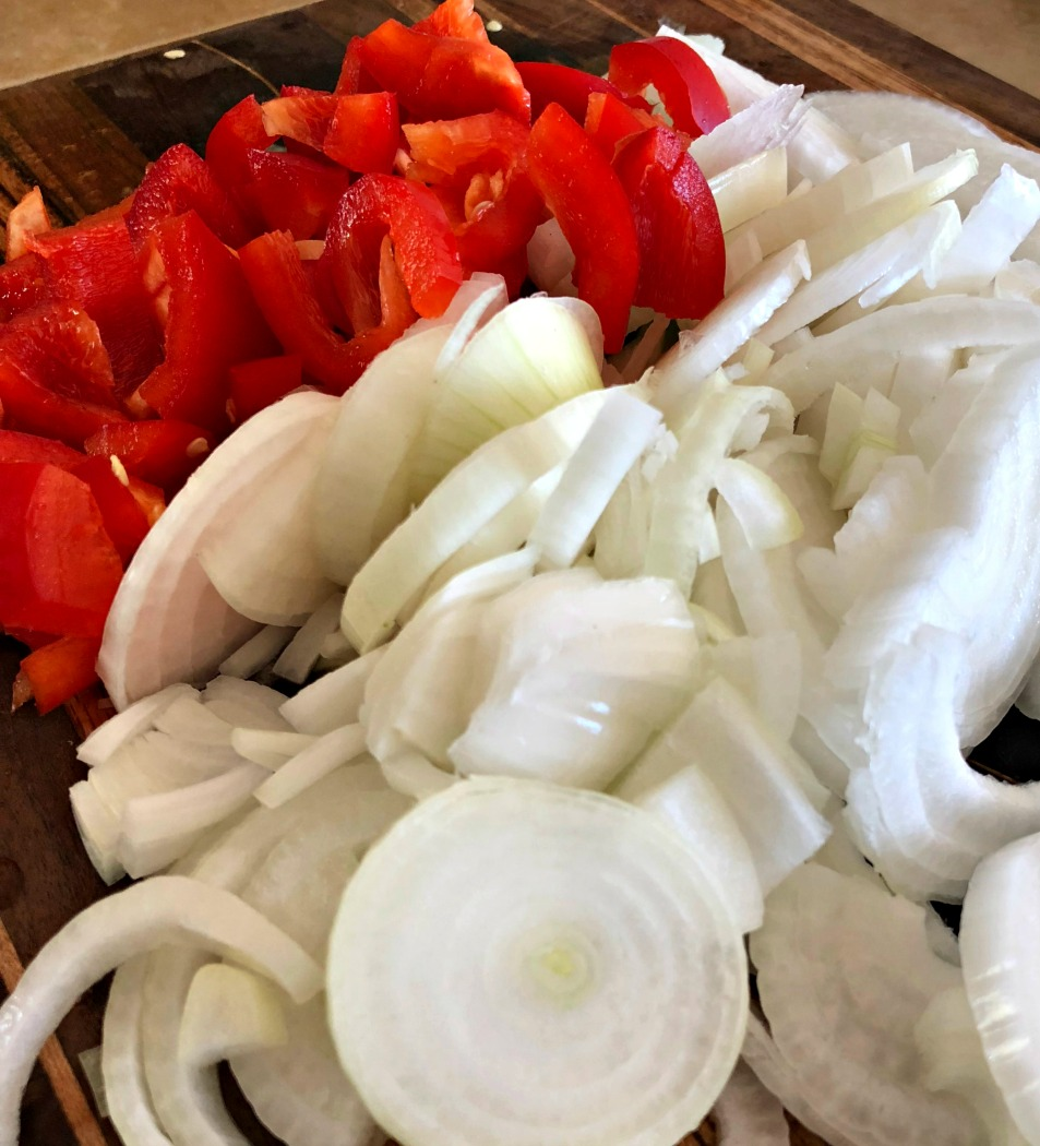 Yummy! Onions and Peppers! This is the first step--