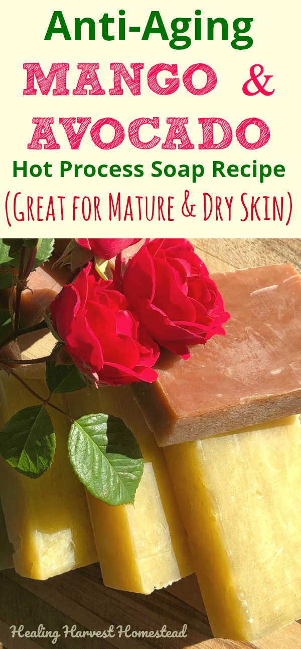 Find out how to make your own super moisturizing handmade soap. This hot process soap recipe can be adapted for cold process, too. You'll love this homemade soap that is excellent for mature, dry skin or skin with eczema. Complete recipe and directions! :-) #homemadesoap #hotprocess #hotprocesssoap #antiaging #antiagingsoap #handmadesoaprecipe