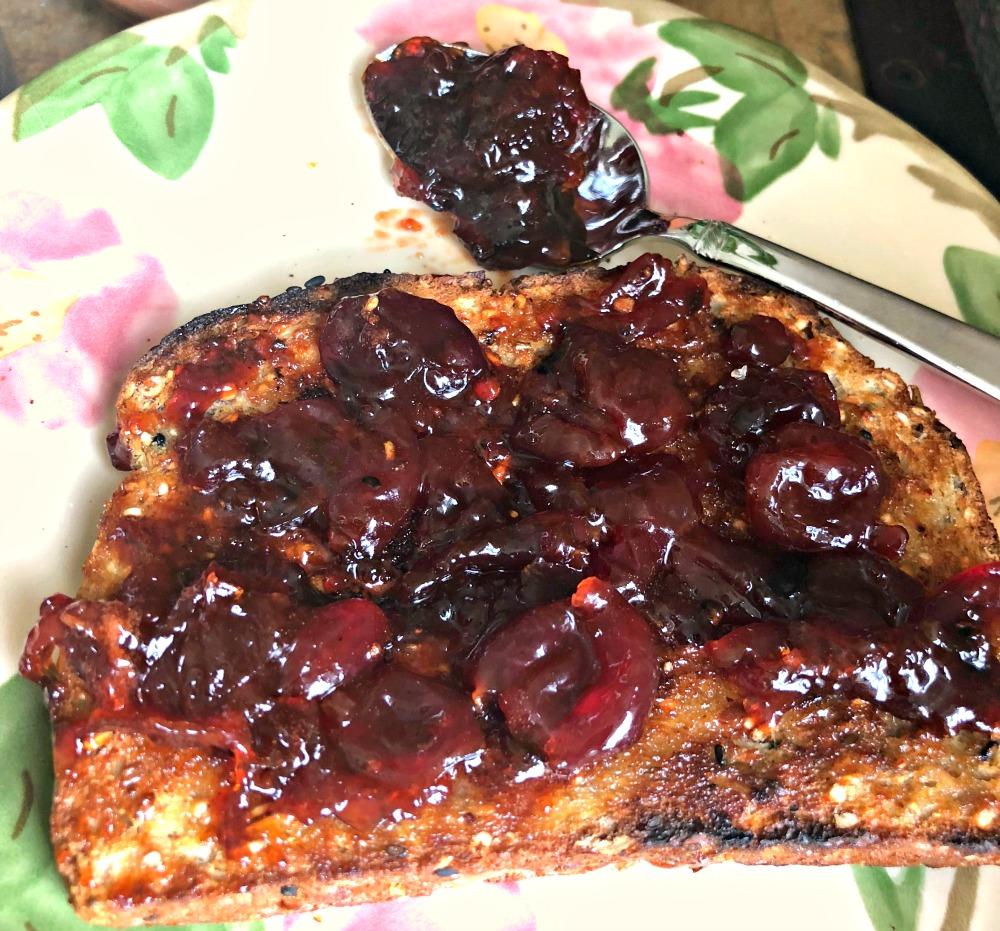 Yummy cherry jam on toast!